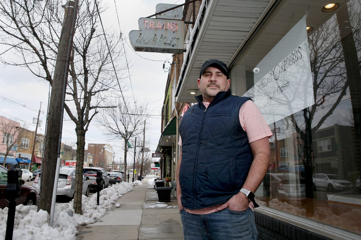 Jim Corso, owner of Phidelity Records in Westmont, N.J., stands  in front of his new store. Three other retailers specializing in vinyl and other traditional music products have opened on or near Haddon Avenue in Collingswood and Haddonfield in recent years.
