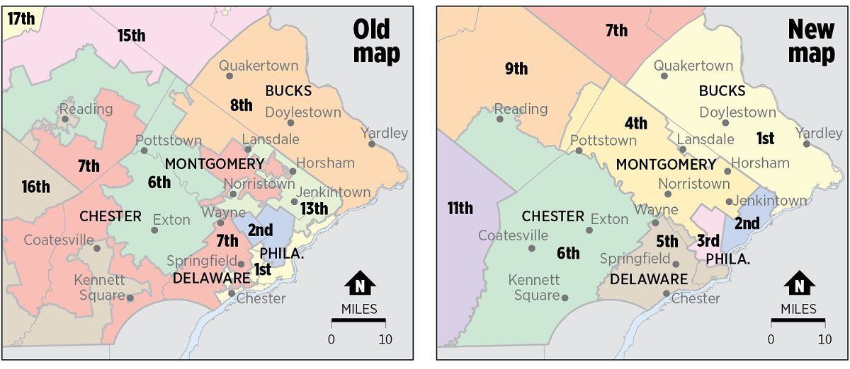 Congressional districts in southeastern Pennsylvania change significantly under the new map imposed by the Pennsylvania Supreme Court to replace the map adopted in 2011.