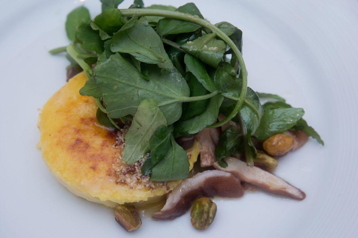 Golden Beet Sformato, watercress, and shiitake mushrooms.