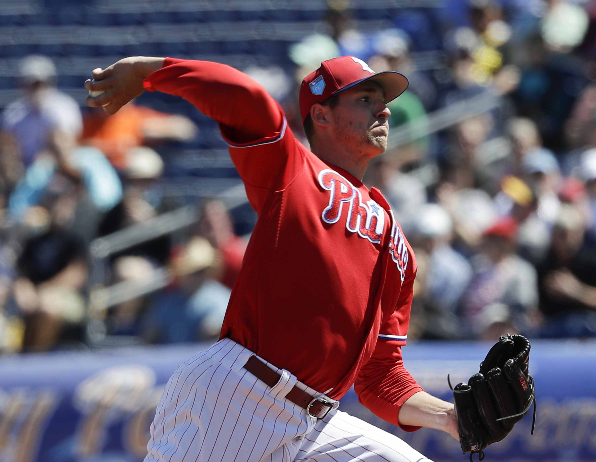 Phillies pitcher Jerad Eickhoff throws the baseball in the first-inning during a spring training game against the Pittsburgh Pirates on Friday, March 9, 2018 at Spectrum Field in Clearwater, FL. YONG KIM / Staff Photographer