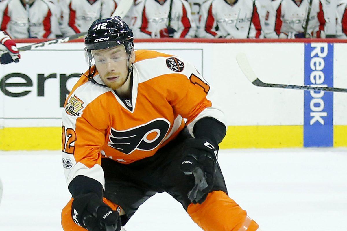 Flyers left winger Michael Raffl skates against the Washington Capitals on Feb. 22.