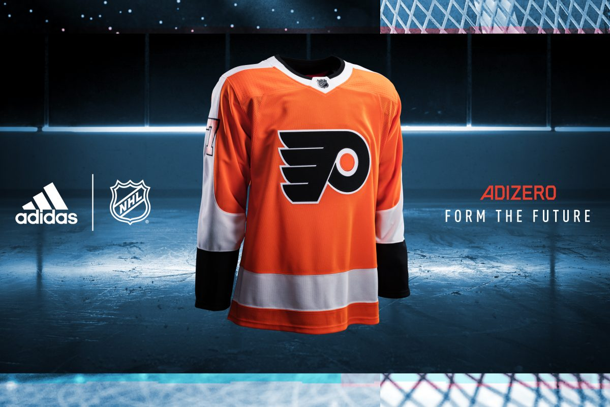 An advertisement for the Flyers' new jersey made by adidas.