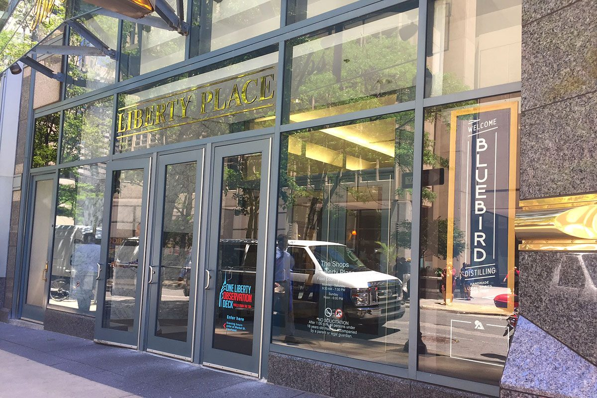 Bluebird Distilling's shop is at Liberty Place, near the 17th Street entrance.