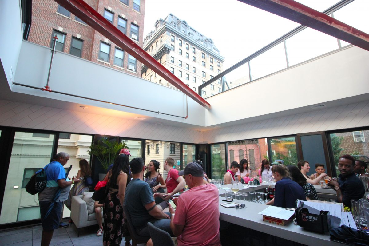 The roof is retracted at Maison 208, the stylish bar/restaurant at 208 S. 13th St. MICHAEL KLEIN / Staff