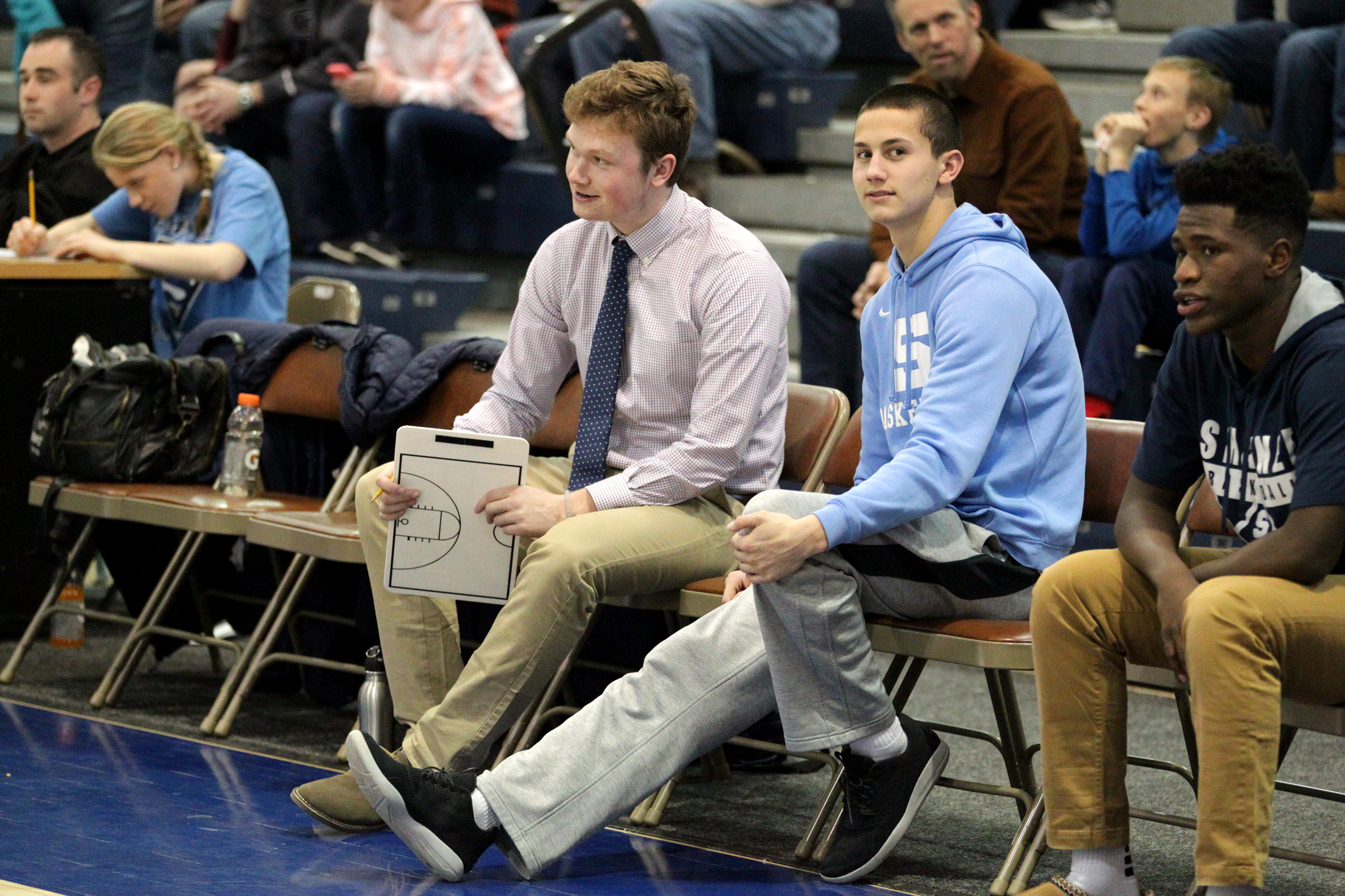 Injured Shawnee players Sean Heine (left) and Pat Kernan during the game against Woodbury in the 2nd quarter of the NJSIAA Tournament of Champions quarterfinal.