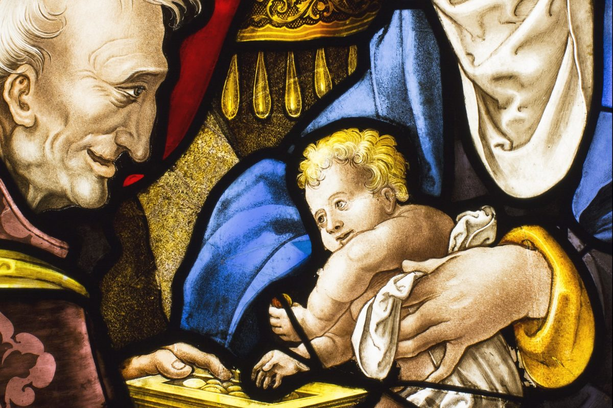 "Detail from the 16th century French stained-glass window ""The Adoration of the Magi,"" one of the Philadelphia Museum of Art's new acquisitions."