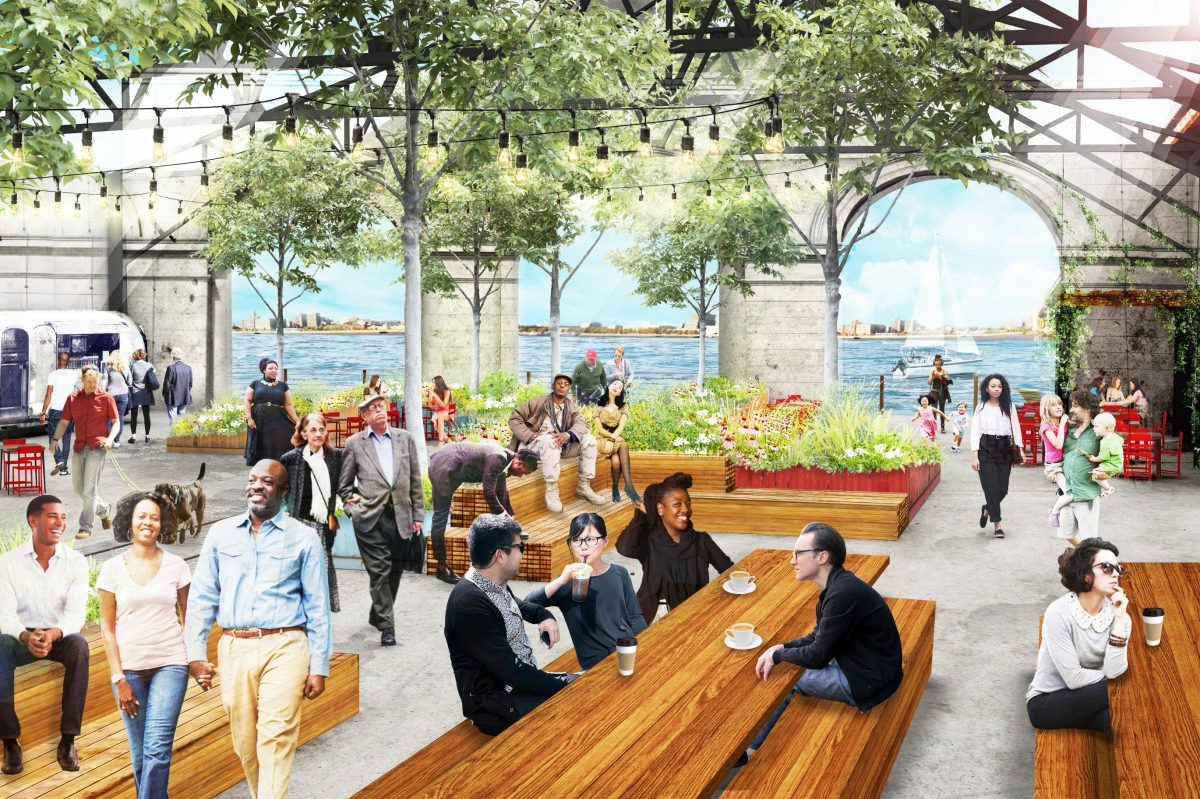 The Delaware River Waterfront corp. plans to turn Pier 9 into a maker´s space with a public park and restaurant. Groundswell Design, which created Spruce Street Harbor Park, has designed the space using shipping containers. It will peel back the roof of the pier building at the water´s edge to create the park