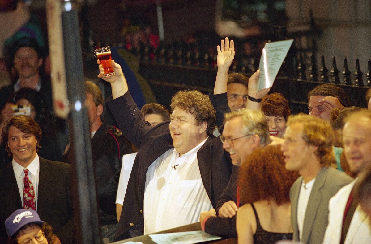 "George Wendt raises a pint on ""Cheers."""