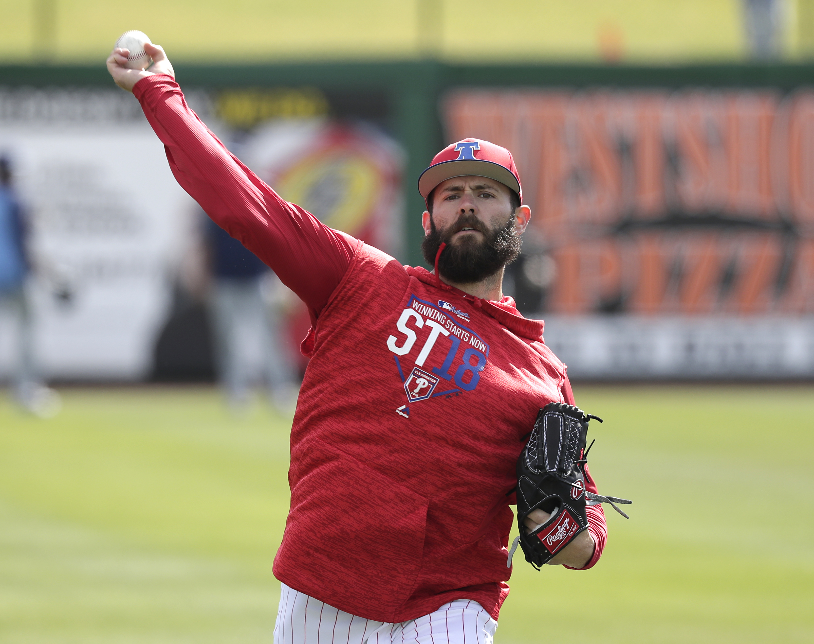Phillies pitcher Jake Arrieta throws during a work out before a spring training game on Tuesday.