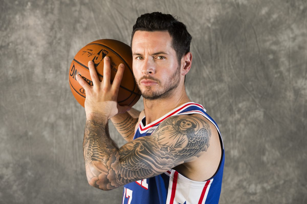 J.J. Redick of the Sixers at their Media Day on Sept. 25, 2017. CHARLES FOX / Staff Photographer