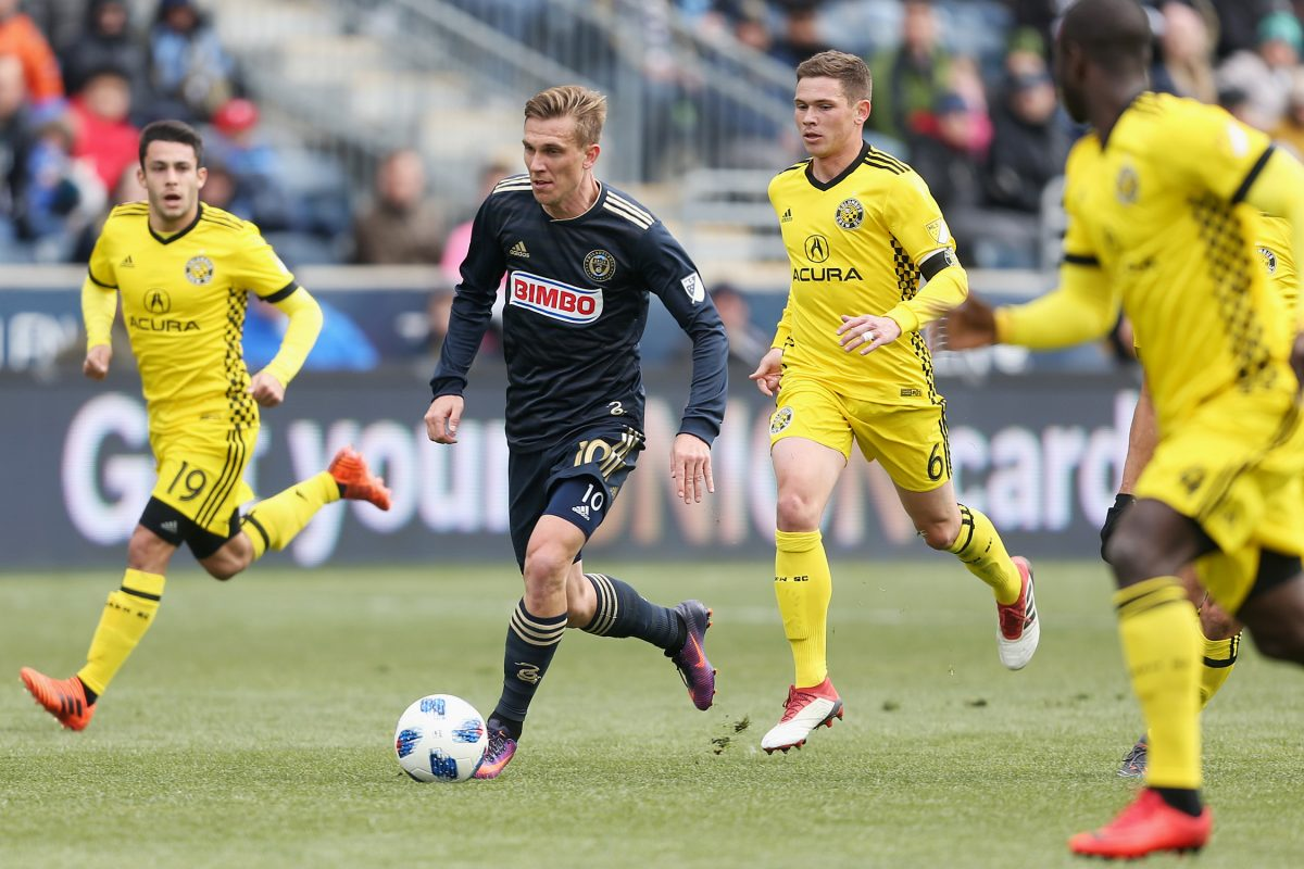 Philadelphia Union midfielder Borek Dockal (10) dribbles toward the goal during a game against the Columbus Crew at Talen Energy Stadium in Chester on Saturday, March 17, 2018. The match ended in a 0-0 draw. TIM TAI / Staff Photographer