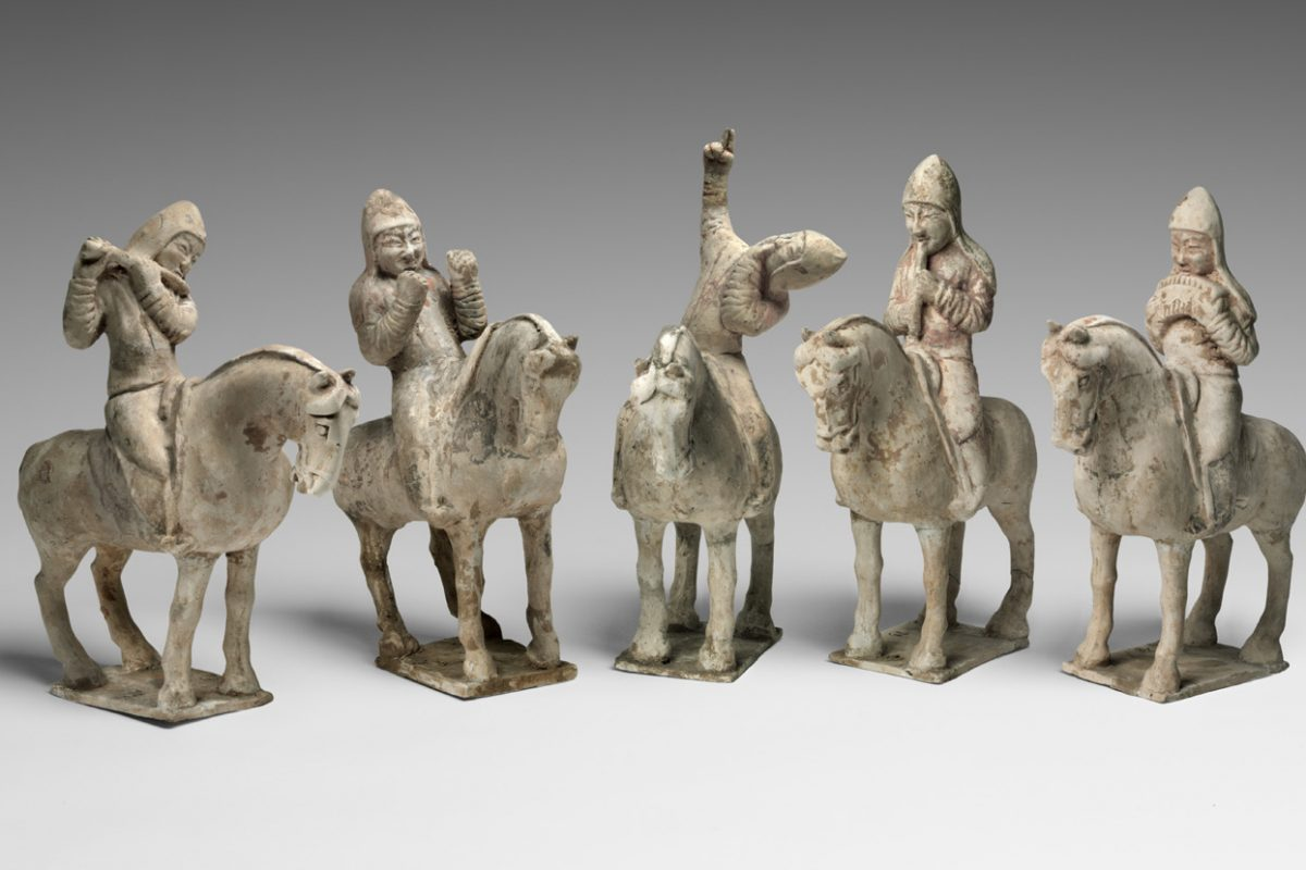 Musicians on Horseback Tang dynasty (618¬-907), mid-7th century Earthenware with traces of pigment. On view in the Chinese galleries at the Philadelphia Museum of Art. Gift of Charles H. Ludington from the George Crofts Collection, 1923