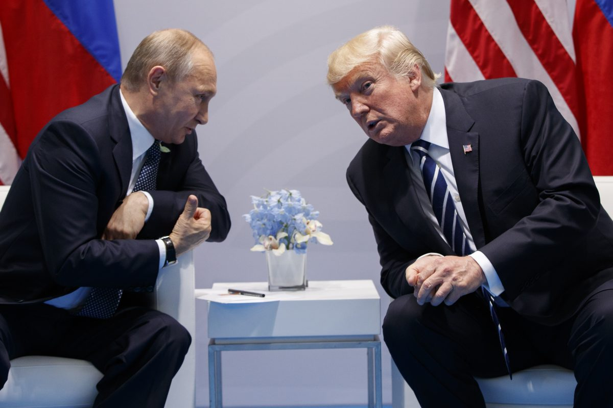 President Trump speaks during a meeting with Russian President Vladimir Putin at July's Group of 20 Summit in Hamburg.