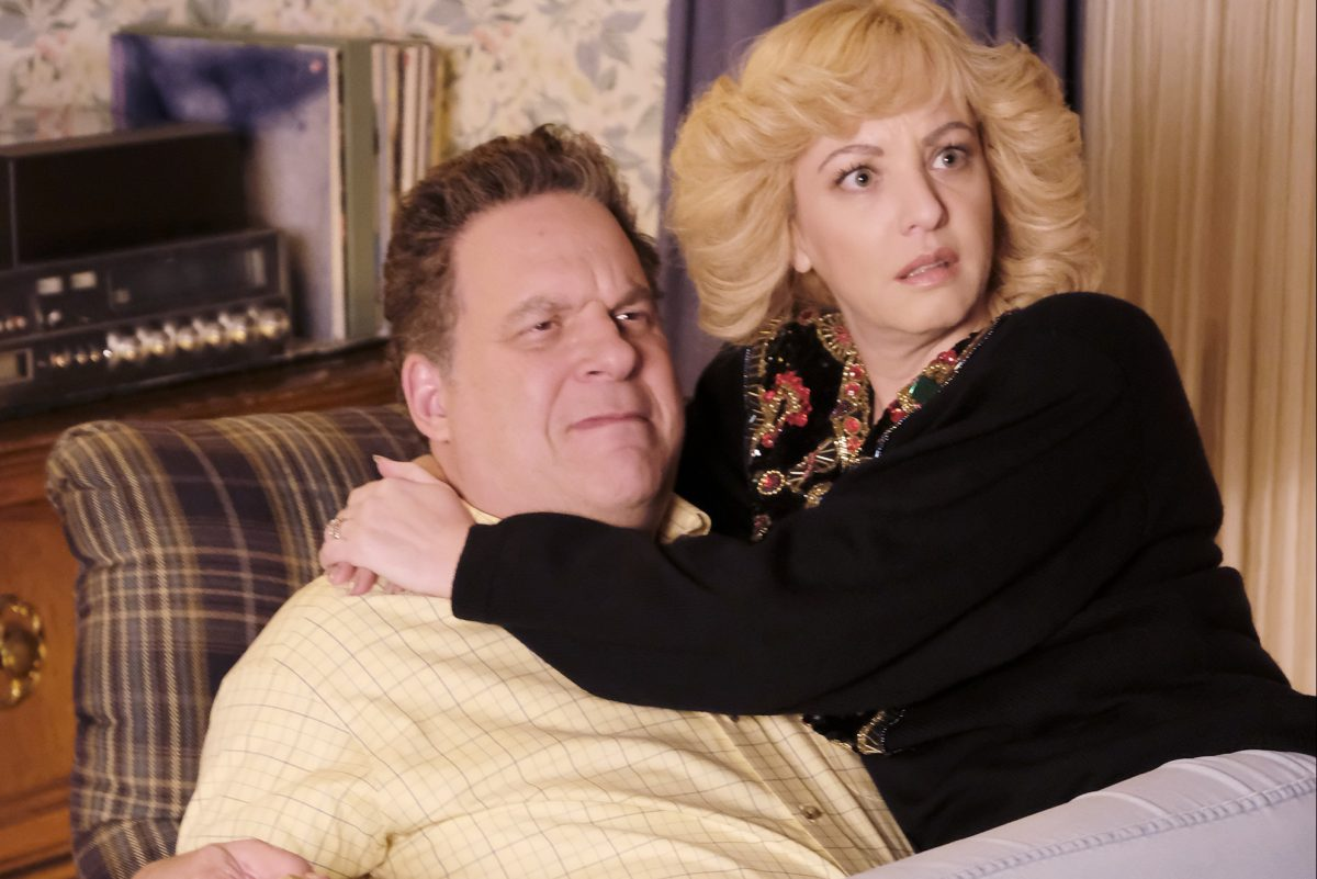 "Jeff Garlin and Wendi McLendon-Covey in a scene from ""The Goldbergs,"" where Murray's chair isn't quite as nice as the one owned by the late Dr. Murray Goldberg, and that is now up for auction"