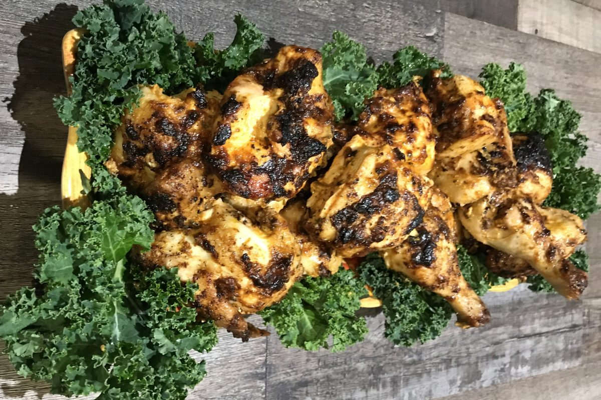 Owner Marcy Schindler of Moish and Itzy's Deli Restaurant crafts this turmeric marinated chicken recipe as a flavorful option to put on your Seder dinner table.