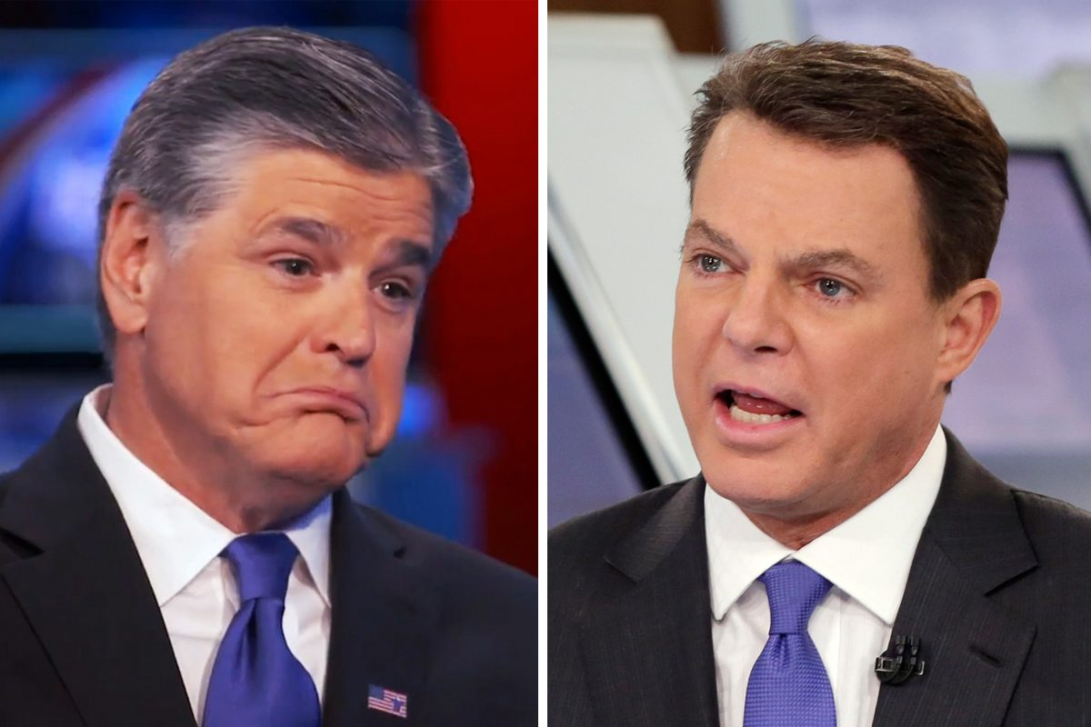 "Fox News host Sean Hannity (left) called Shepard Smith ""clueless"" after Smith said opinion hosts at the network existed ""strictly to be entertaining."""
