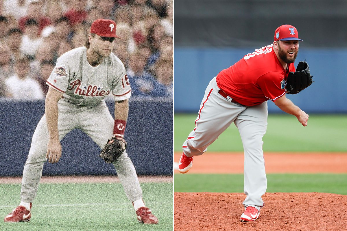 1993 Phillie Dave Hollins (left) and current pitcher Tommy Hunter helped get free agent Jake Arrieta to Philly.