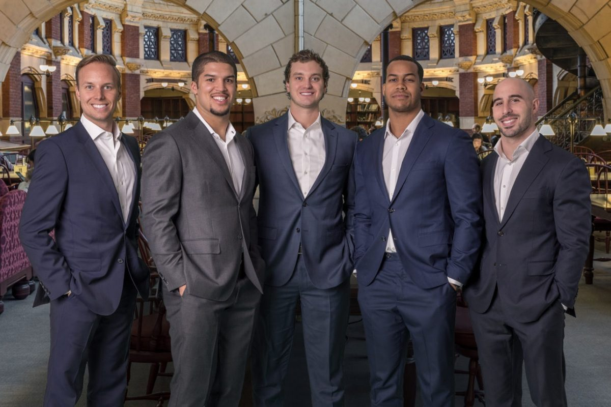 TopTier Wealth Management partners: from left, Mike Brusko, Trey Burton, Austin Nelson, Jordan Hicks, and Chris Maragos.