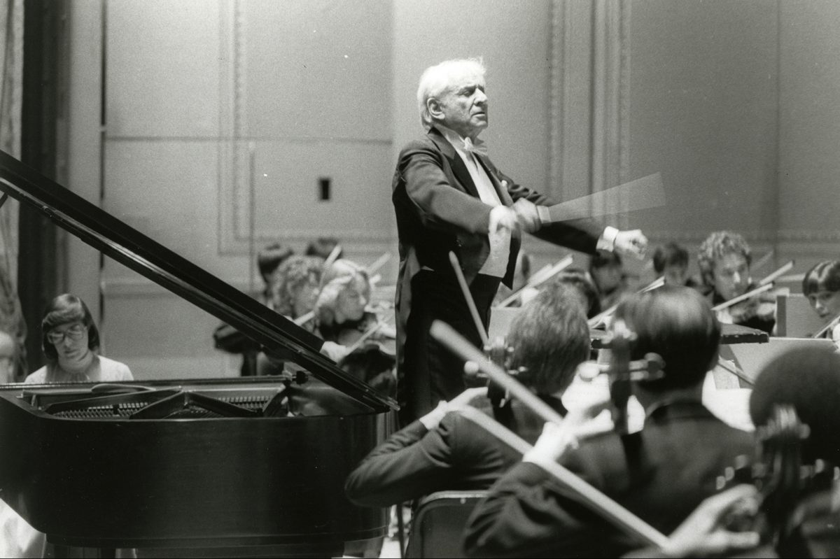 Leonard Bernstein conducts the Curtis Symphony Orchestra with soloist Susan Starr in a 1984 performance at the Academy of Music.