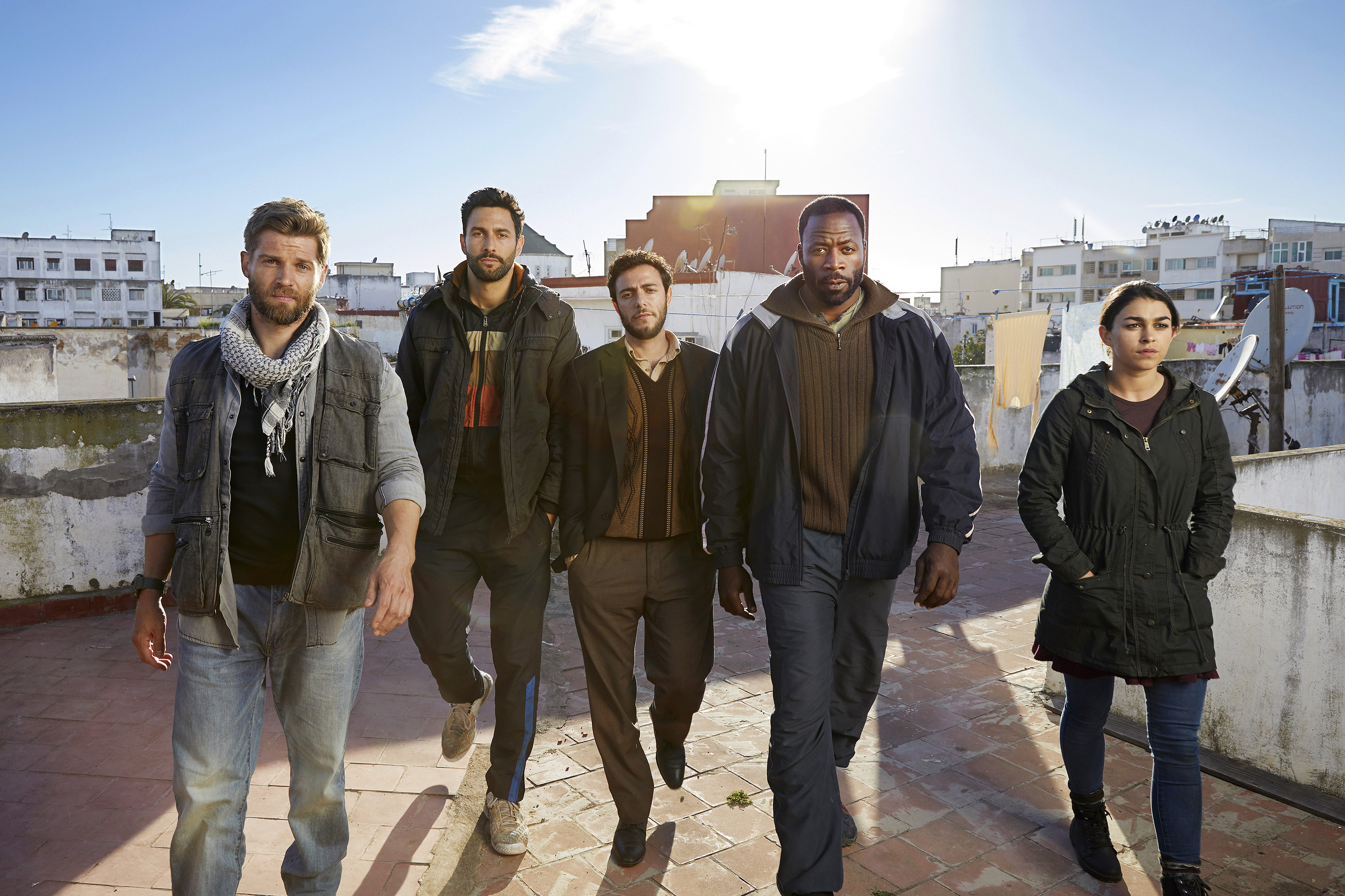 "From NBC´s ""The Brave"" (left to right) Mike Vogel as Michael Dalton, Noah Mills as Joseph J. McGuire, Hadi Tabbal as Amir Al-Rasani, Demetrius Grosse as Anthony ""Preach"" Carter, Natacha Karam as Jasmine Jaz Ervin -- (Photo by: Jeff Riedel/NBC)"