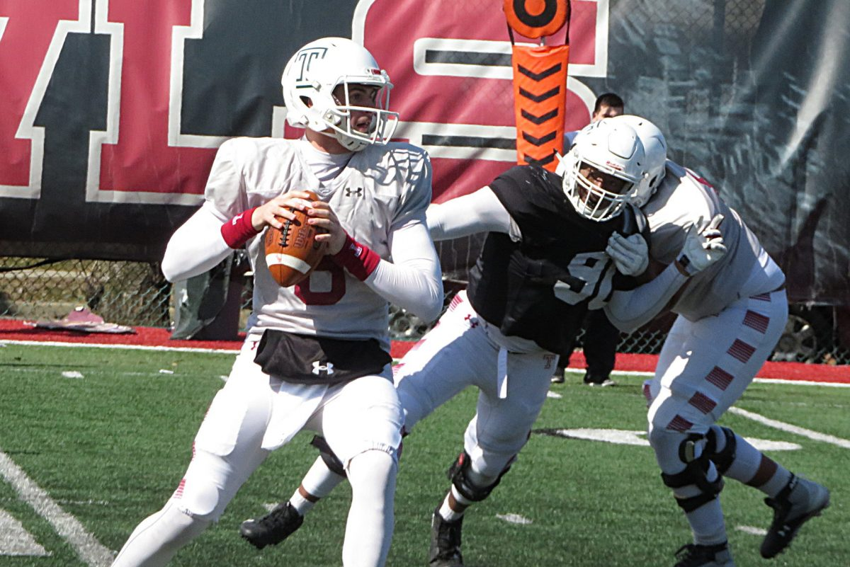 Temple's Frank Nutile competing during Saturday's spring practice for the Owls.