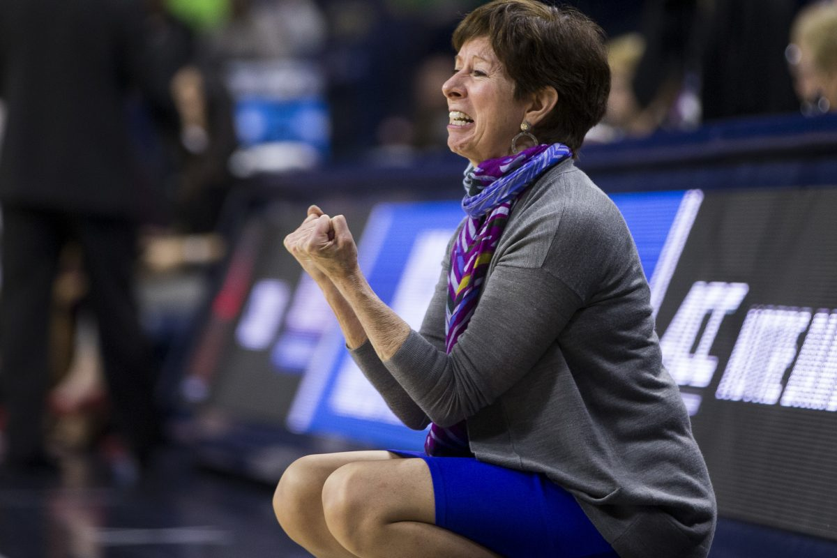 Notre Dame head coach Muffet McGraw yells at her players during a first-round game against Cal State Northridge in the NCAA women's college basketball tournament Friday, March 16, 2018, in South Bend, Ind.