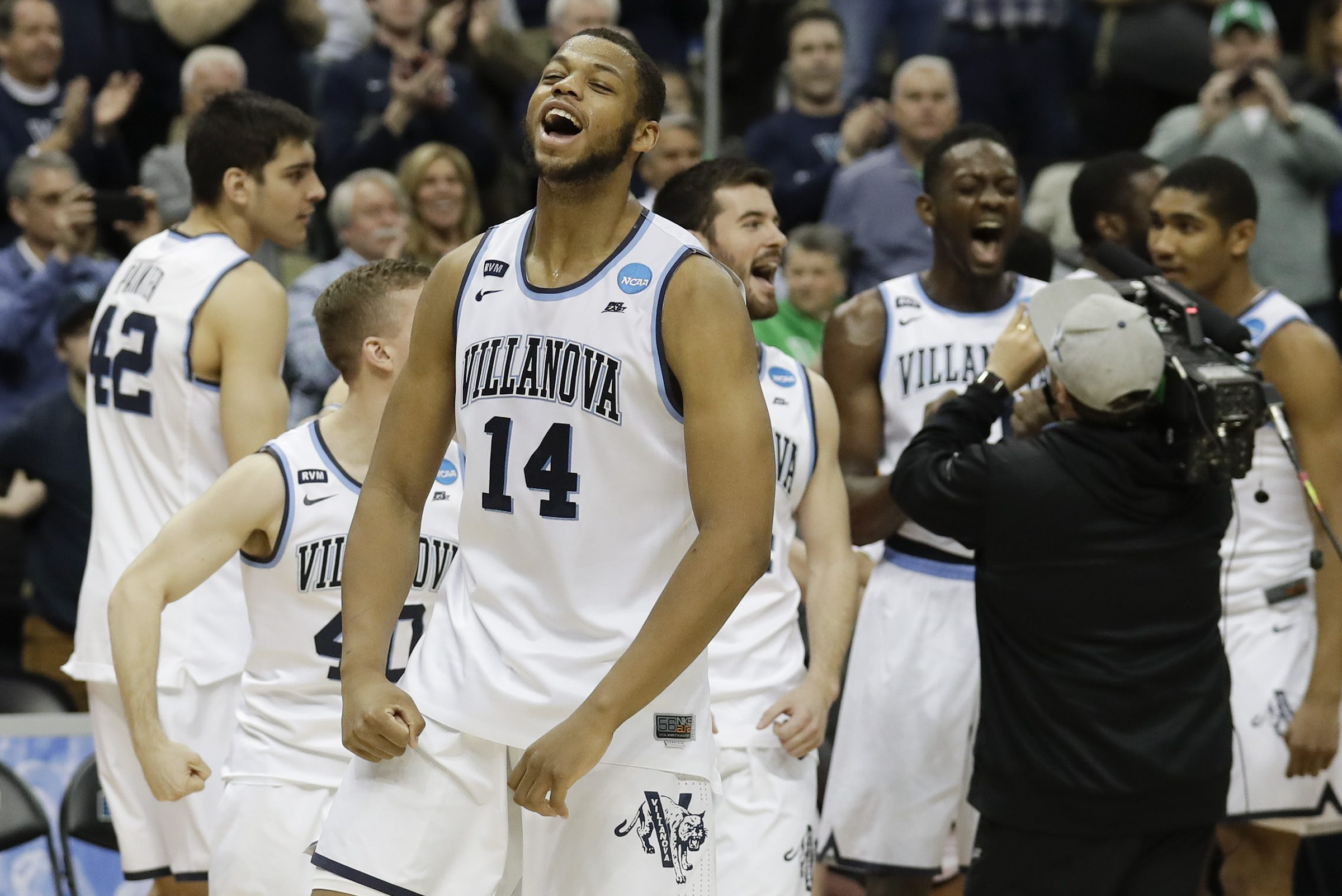 Villanova forward Omari Spellman yells after Villanova beat Alabama in the second-round of the NCAA men´s basketball tournament on Saturday, March 17, 2018 at PPG Paints Arena in Pittsburgh.