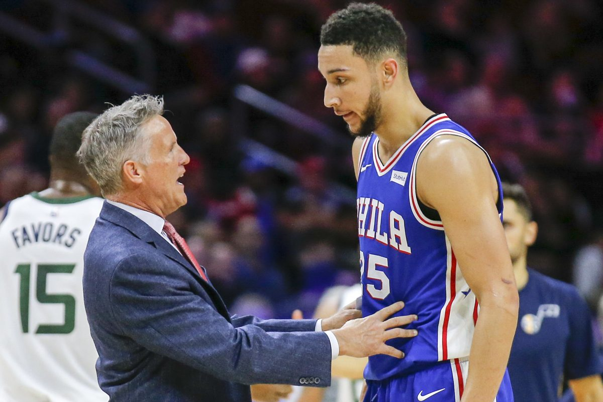 Sixers coach Brett Brown with guard Ben Simmons against the Utah Jazz on Monday, November 20, 2017 in Philadelphia.