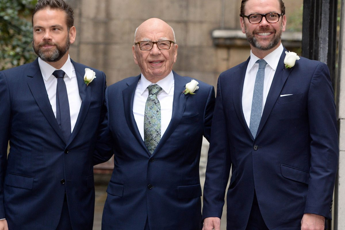 Rupert Murdoch in London with sons James, right, who is chairman of the board at Sky, and Lachlan, in March 2016.