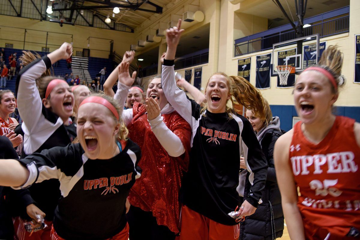 Upper Dublin players celebrate as they win, 26-25, over Souderton in the girls state class 6A semi-final game at Council Rock South, March 19, 2018.