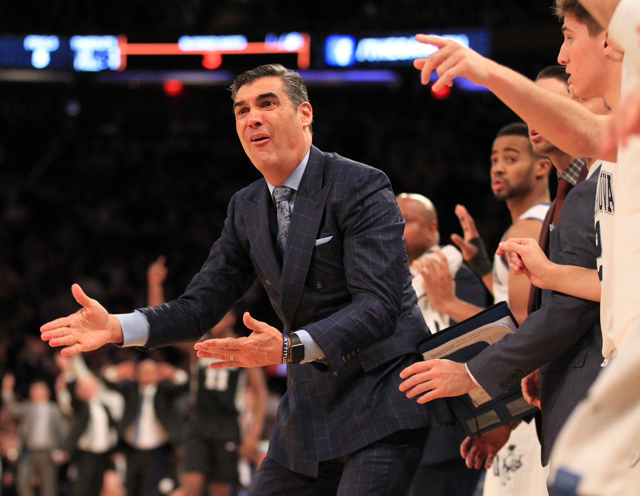 Villanova Coach Jay Wright questions an officialÕs call in the Big East Tournament Championship Game at Madison Square Garden on March 10, 2018.