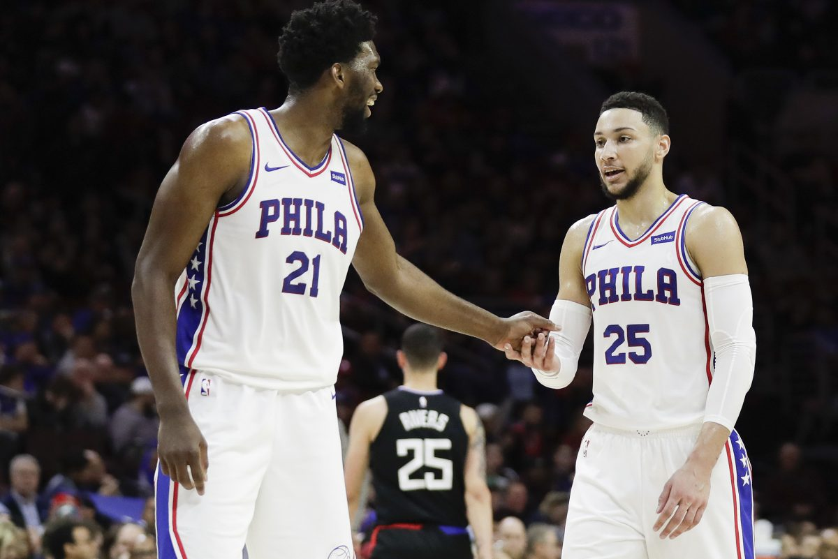 Sixers guard Ben Simmons with teammate center Joel Embiid against the Los Angeles Clippers on Saturday, February 10, 2018 in Philadelphia.