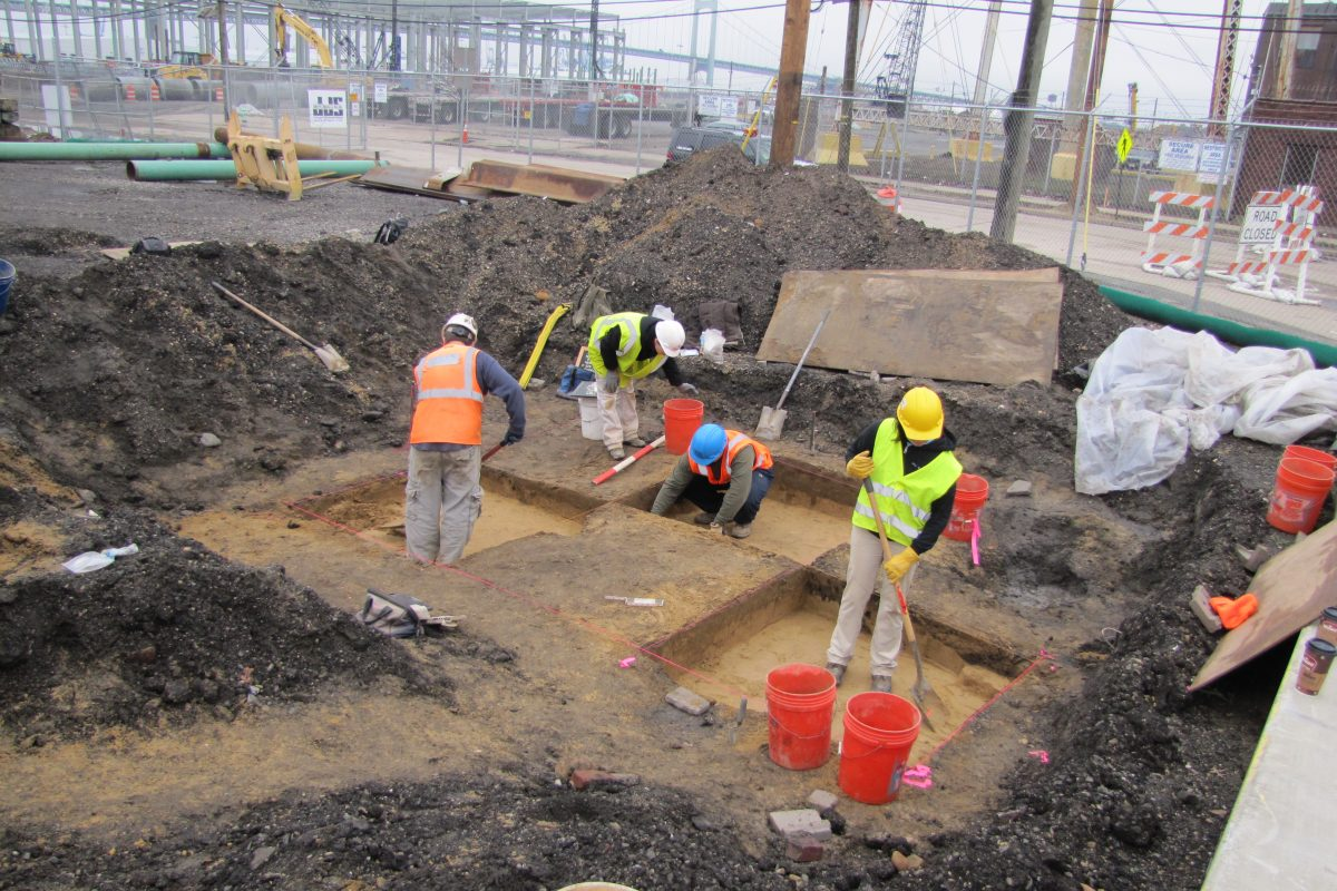 Archeologists at work in 2016 on site near construction of the Holtec International campus in Camden, where nearly 10,000 Native American artifacts were recovered.