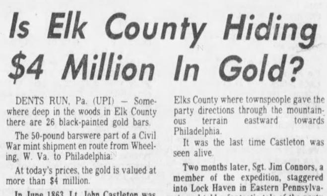 A Pittsburgh Press article from 1978 on the lost gold of Elk County