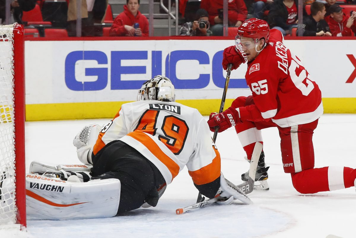 The Philadelphia Flyers were outplayed, out-shot and outworked in the first period by the Detroit Red Wings, a going-nowhere team that had lost 10 straight games before hosting the Flyers.