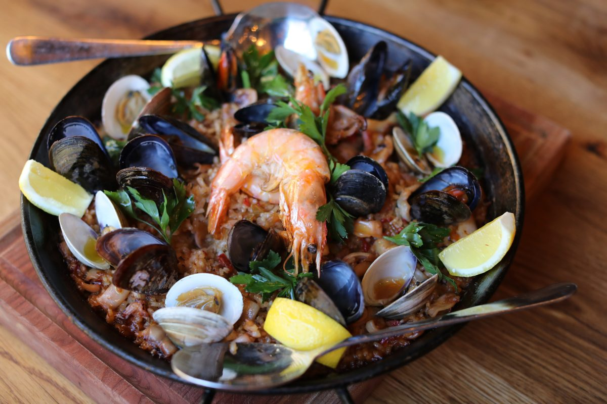 The seafood paella for two at Barcelona Wine Bar, 1709 E Passyunk Ave.