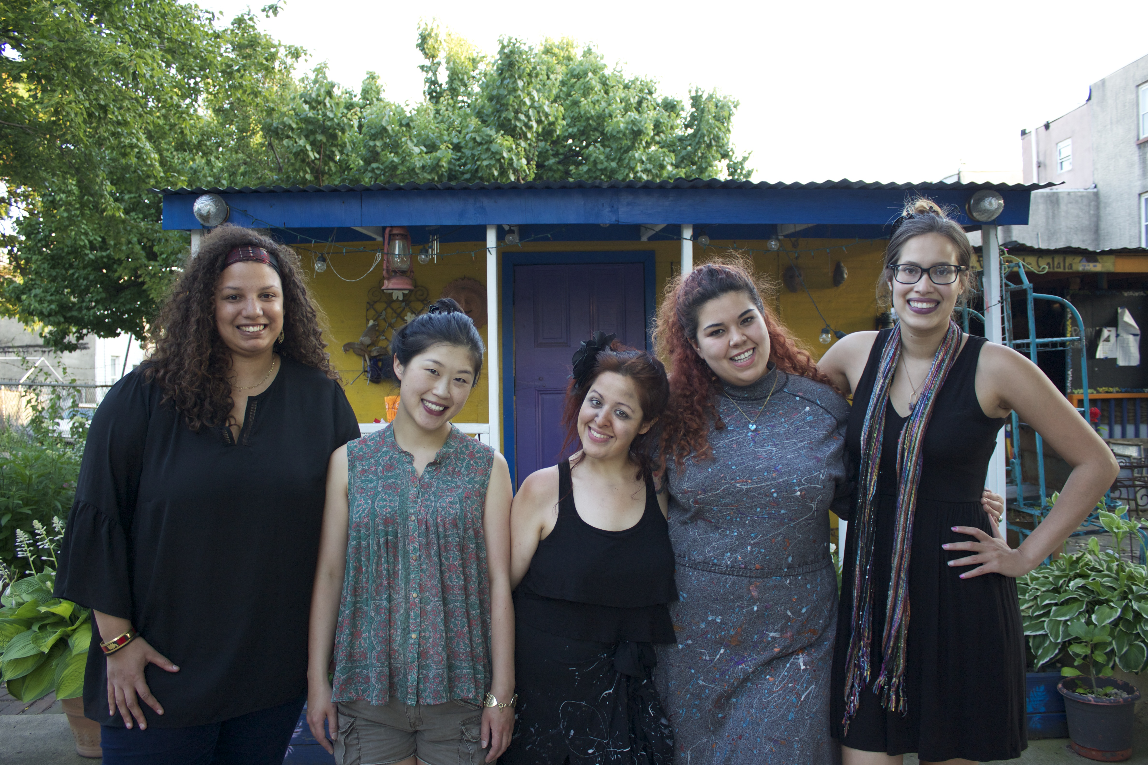 The staff at Power Street Theatre includes, from left to right: Lexi White, resident artist; Asaki Kuruma, production manager; Diana Rodriguez, resident artist; Gabriela Sanchez, founder and managing director; Erlina Ortiz, artistic director and resident playwright.