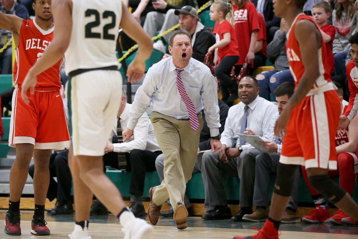 Delsea head coach Tom Freeman shouts from the sideline during the NJSIAA South Jersey Group 3 championship game against Seneca at Seneca High School in Tabernacle, N.J., on Tuesday, March 6, 2018. Delsea won 53-40.