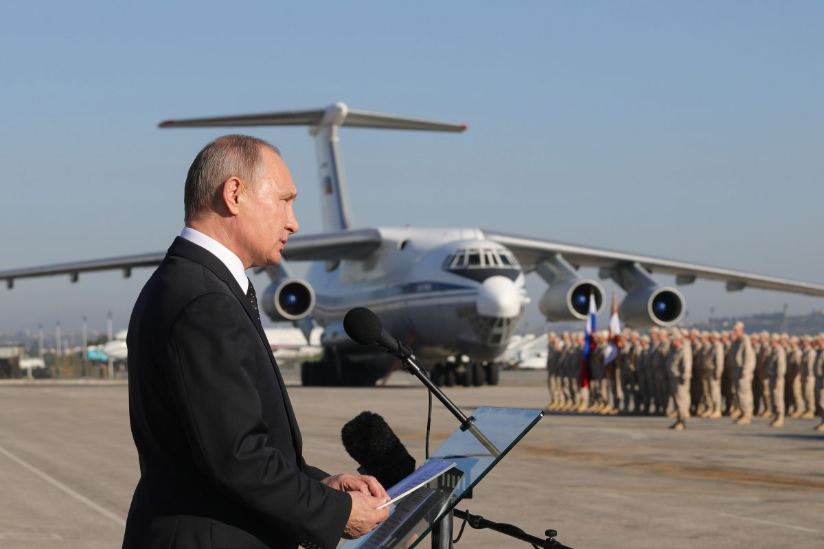 Russian President Vladimir Putin addresses the troops at the Hmeimeem air base in Syria in December 2017.
