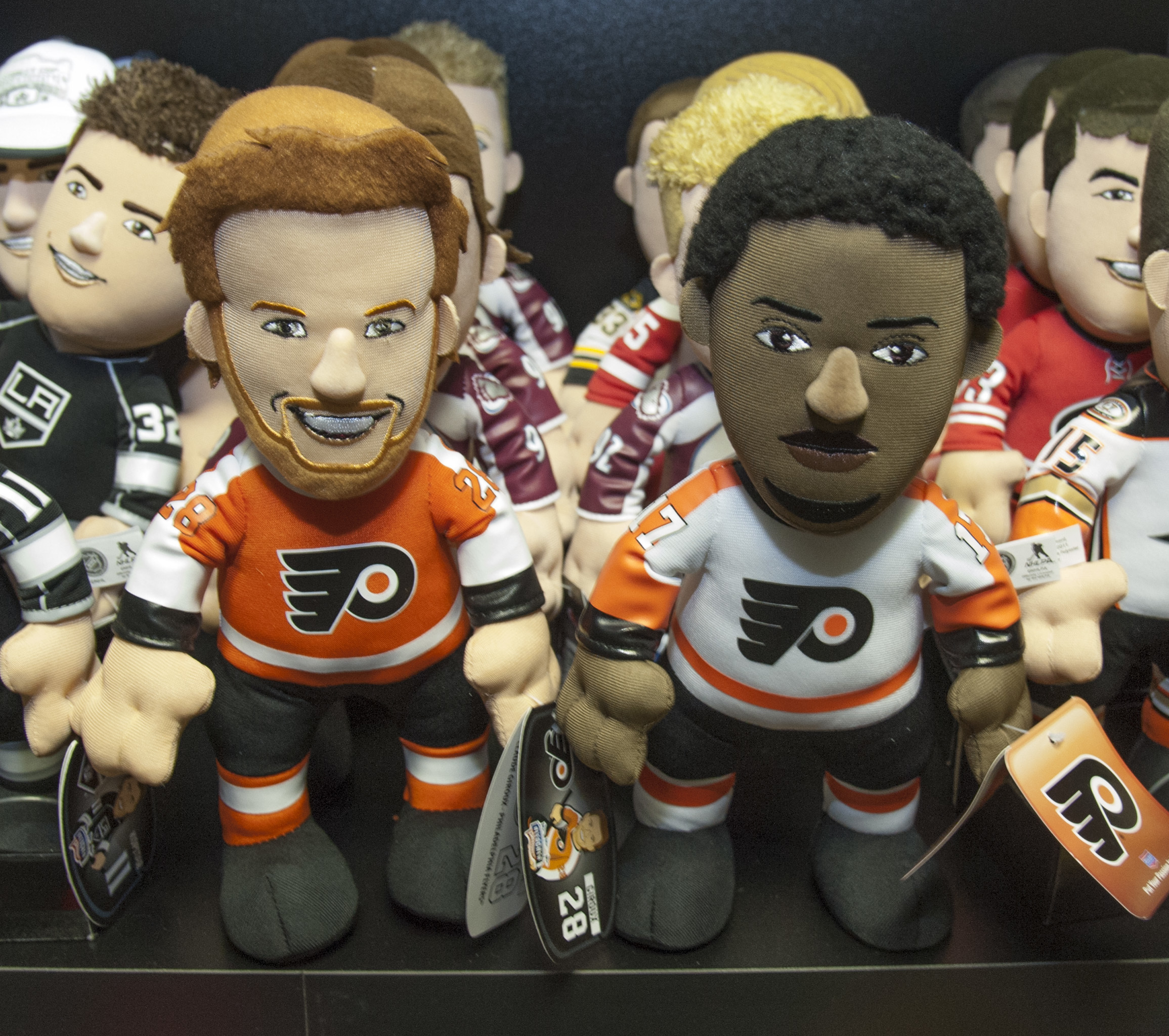 Bleacher Creatures creations of Philadelphia Flyers´ fan favorites Claude Giroux (left) and Wayne Simmonds in the Plymouth Meeting offices Dec. 1, 2014. ( CLEM MURRAY / Staff Photographer )