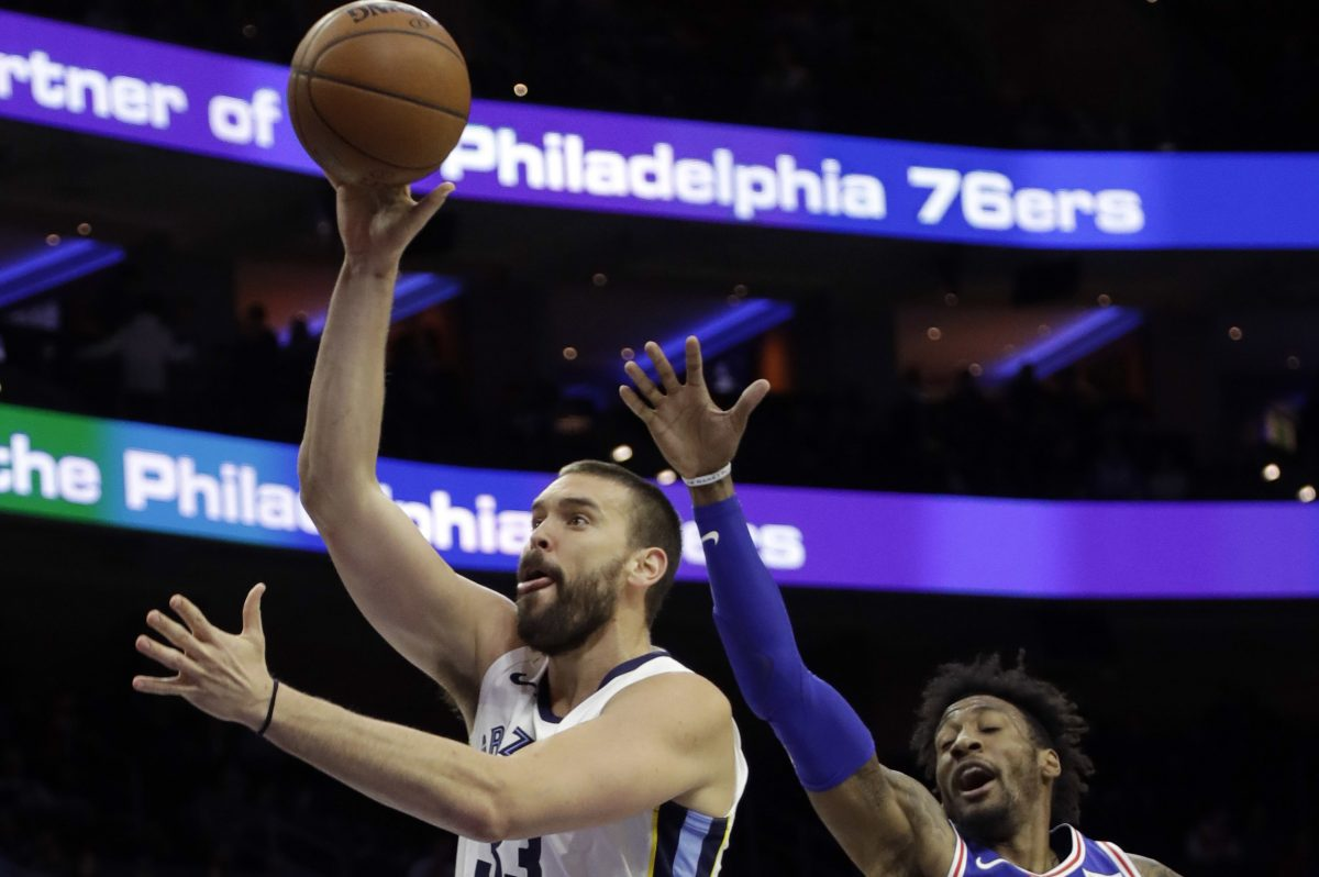 Memphis' Marc Gasol struggled against the Sixers Wednesday night.