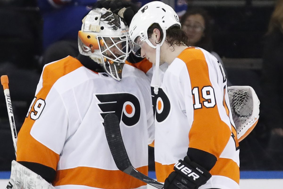 Goaltender Alex Lyon and center Nolan Patrick celebrate after the Flyers' 7-4 win over the Rangers at Madison Square Garden back on Feb. 18. Lyon stopped 25 of 26 shots in relief to earn his first NHL win.