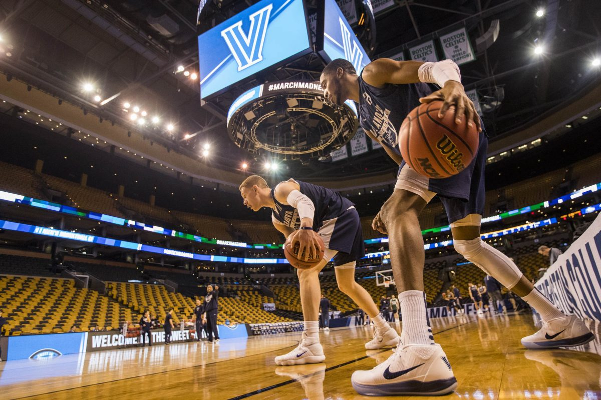 Donte DiVincenzo, left, and Mikal Bridges of Villanova during their practice session in TD Garden on March 22, 2018.  They will face West Virginia in the round of 16 in the NCAA Tournament.   CHARLES FOX / Staff Photographer