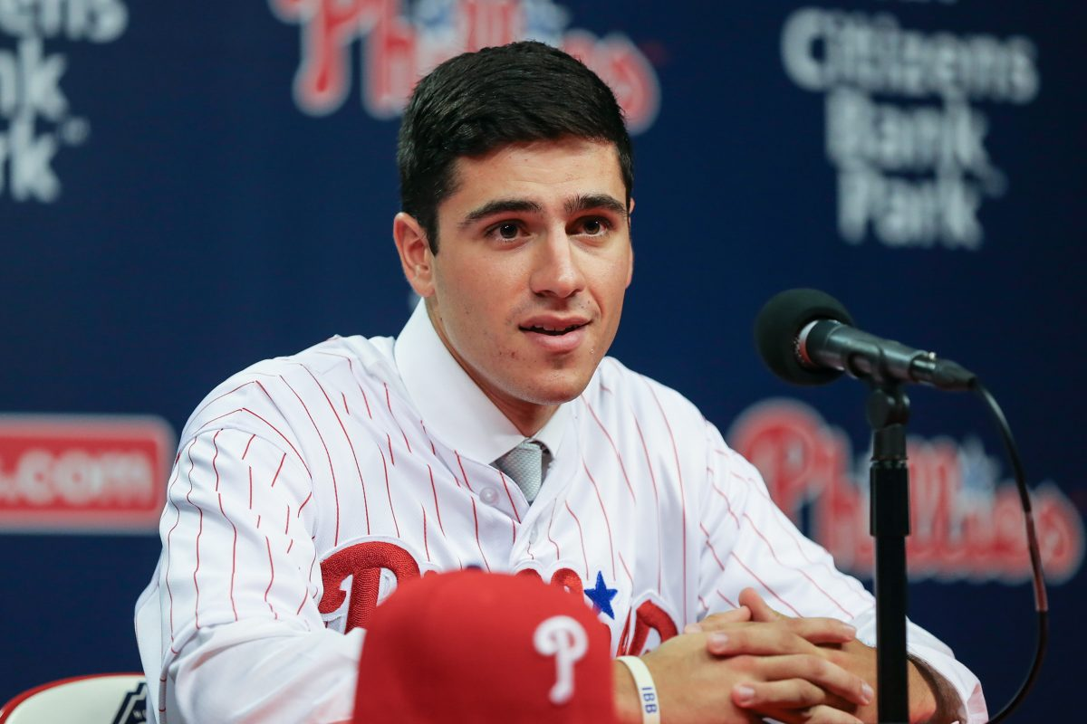 Adam Haseley, the Phillies' first-round draft selection, was introduced Wednesday at Citizens Bank Park.