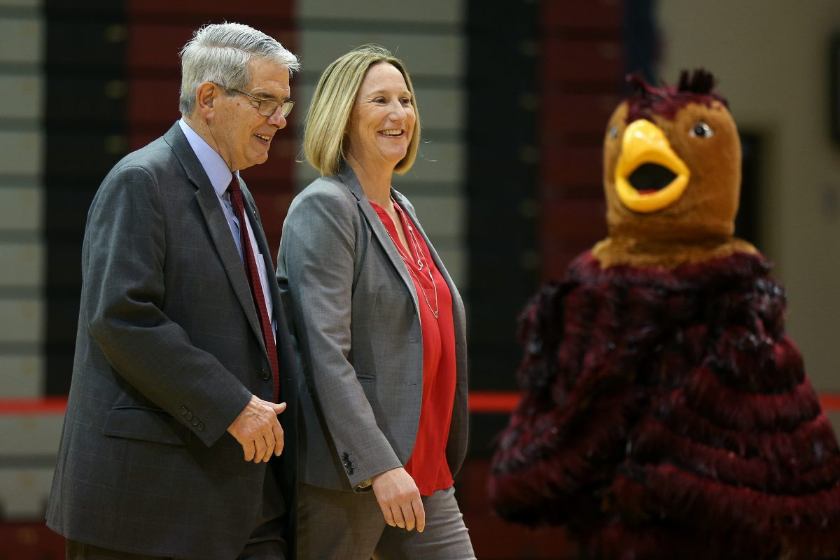 Outgoing longtime St. Joseph´s University athletics director Don DiJulia (left) with his successor Jill Bodensteiner.