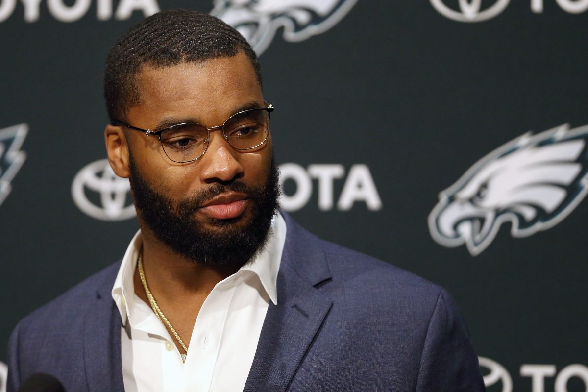 New Eagles cornerback Daryl Worley speaks during his news conference Monday at the NovaCare Center.