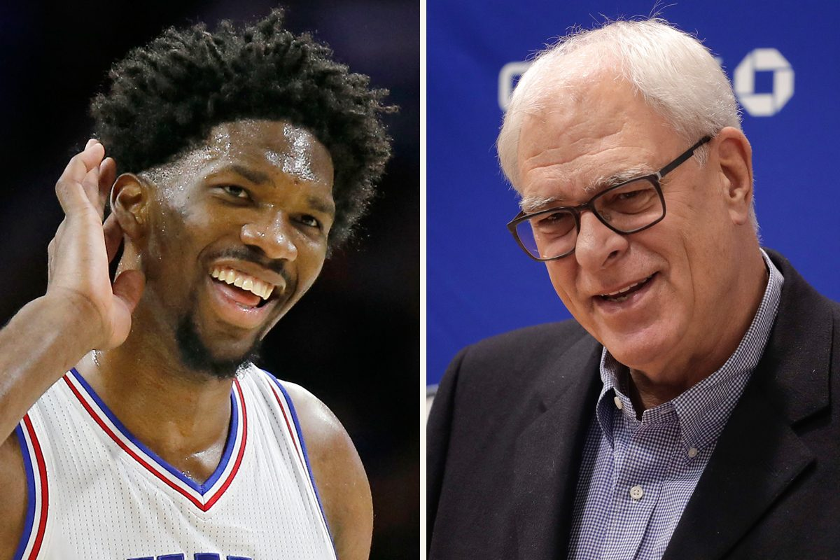 Joel Embiid threw shade at Knicks president Phil Jackson on Twitter while reaching out to Kristaps Porzingis.