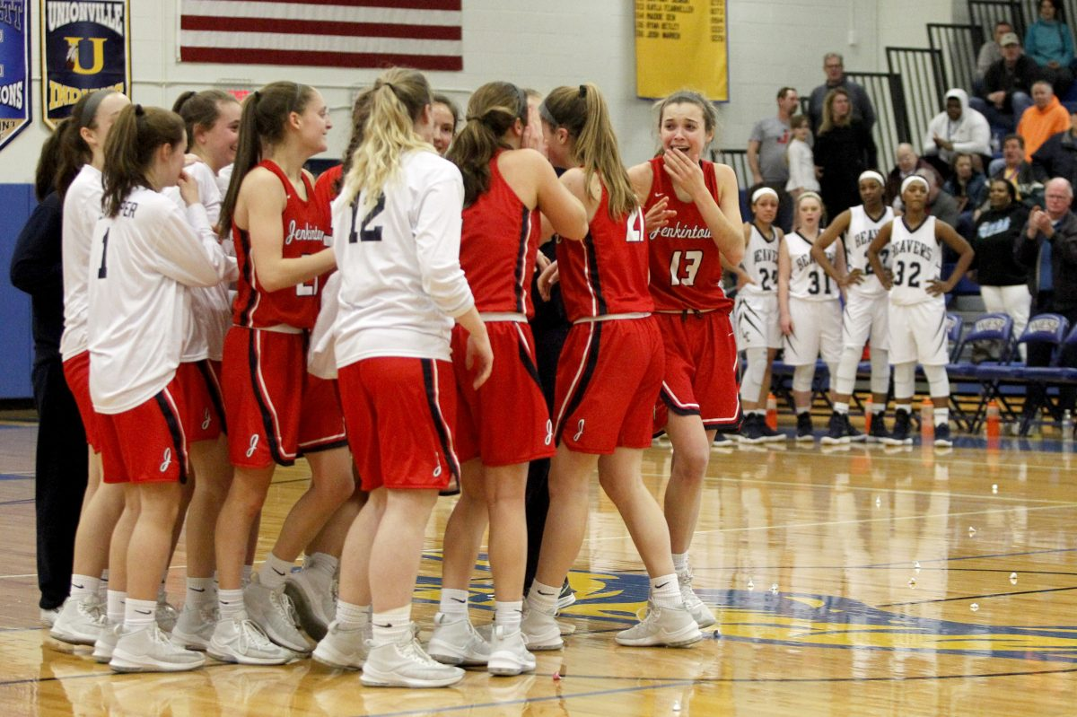 Jenkintown celebrates its win against Lebanon Catholic on Saturday . The Drakes are to play for the Class A state  title on Tuesday.