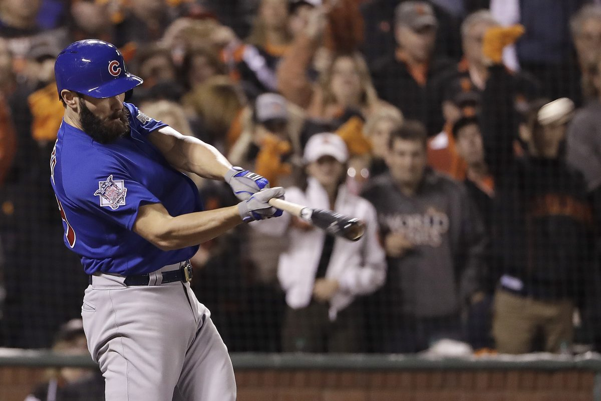 Phillies pitcher Jake Arrieta, here during his time with the Cubs, hits a three-run home run against the San Francisco Giants during the 2016 NLDS.