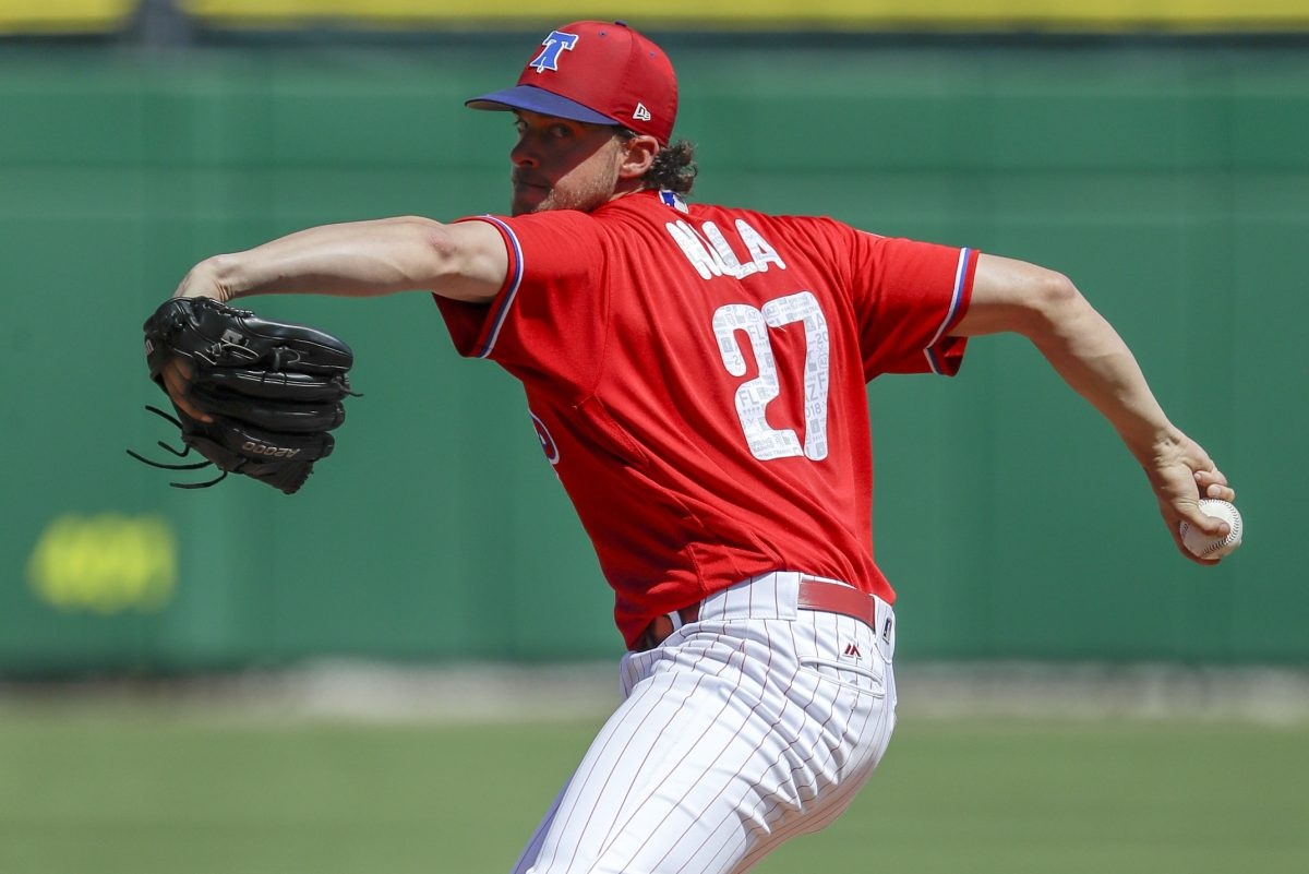Phillies pitcher Aaron Nola in a start earlier this spring against the New York Yankees.